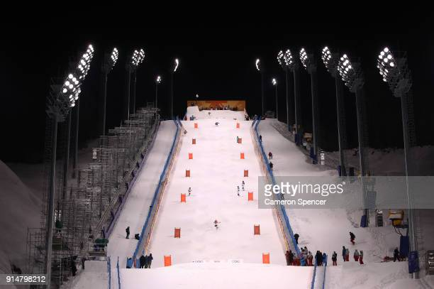 A general view of Moguls training ahead of the PyeongChang 2018 Winter Olympic Games at Phoenix Park on February 6 2018 in Pyeongchanggun South Korea