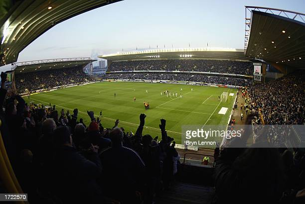 A general view of Molineux stadium as the Wolverhampton Wanderers fans celebrate during the FA Cup third round match between Wolverhampton Wanderers...