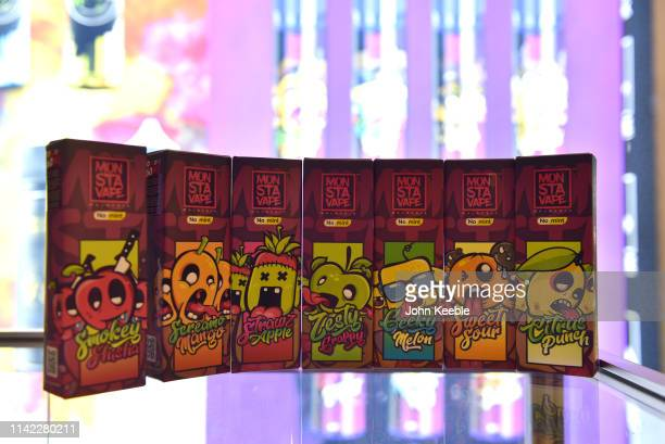 A general view of Mon Sta Vape fruit flavoured ELiquid on display during Vape Jam 2019 at ExCel on April 12 2019 in London England Vape Jam UK the...