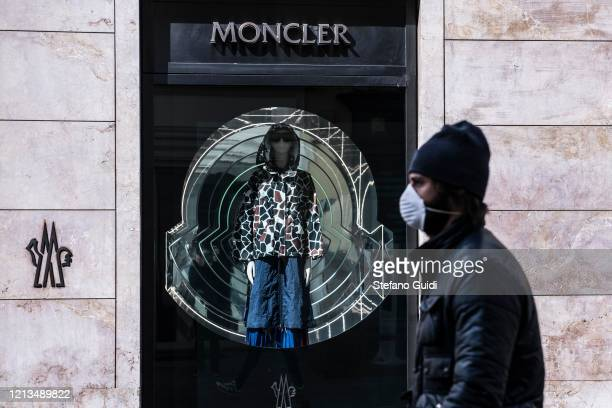 General view of Moncler luxury clothing store closed in Via La Grange in Turin during on the Italy Continues Nationwide Lockdown To Control...