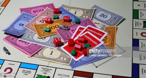 General view of money on a Monopoly Board