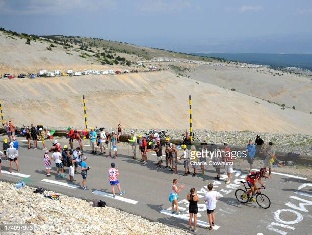 A general view of Mont Ventoux as BMC's Marcus Burghardt makes his way up the mountain during stage fifteen of the 2013 Tour de France a 2425KM road...