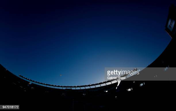 General view of Monumental stadium before a match between River Plate and Rosario Central as part of Superliga 2017/18 at Estadio Monumental Antonio...