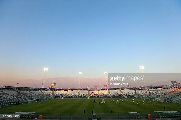 General view of Monumental Stadium during a training session of Brazil at Monumental Stadium on June 16 2015 in Santiago Chile Brazil will face...