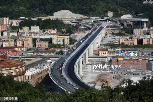 "General view of Morandi bridge on July 13, 2020 in Genoa, Italy. The new bridge, built after the ex ""Ponte Morandi"" has been demolished, is going to..."