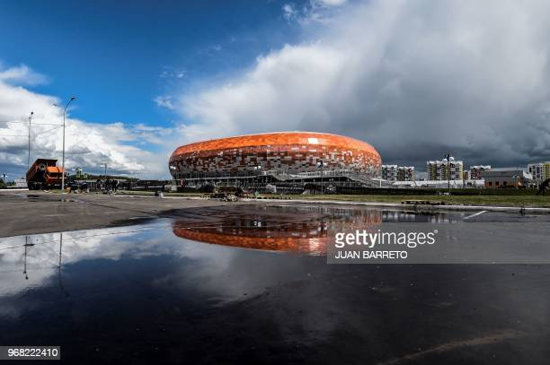 TOPSHOT A general view of Mordovia Arena in Saransk on June 6 2018 The 44000seater stadium will host four World Cup matches
