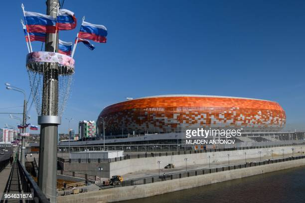 A general view of Mordovia Arena in Saransk on May 4 2018 The 44000seater stadium will host four World Cup matches