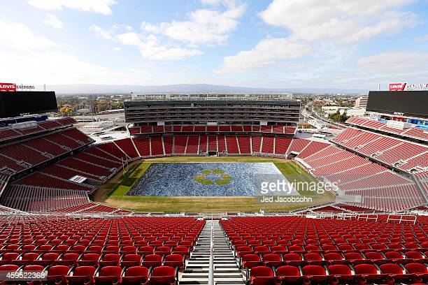 A general view of more than 18850 pairs of jeans that are displayed on the field at Levi's Stadium creating a Field of Jeans on November 12 2014 in...