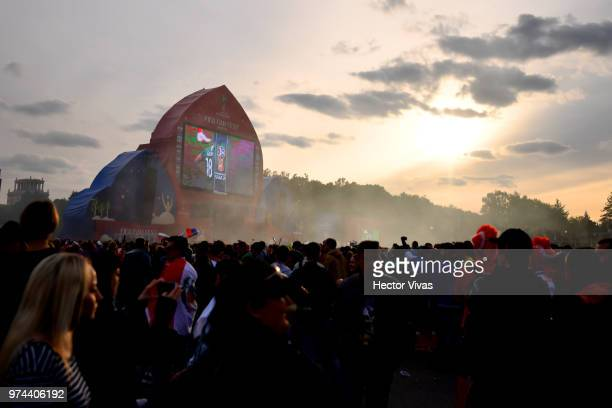 General view of Moscow Fan Fest during the 2018 FIFA World Cup Russia group A match between Russia and Saudi Arabia at FIFA Fans Fest Moscow on June...