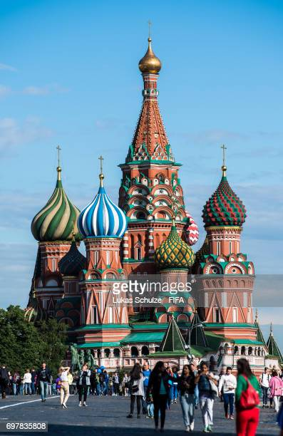 General view of Moscow with the Saint Basil's Cathedral on June 19 2017 in Moscow Russia