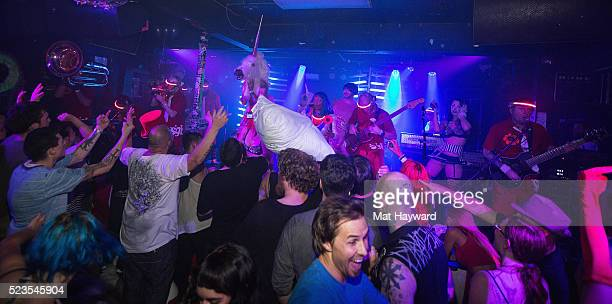General view of mosh pit as Super Geek League performs at El Corazon on April 22 2016 in Seattle Washington