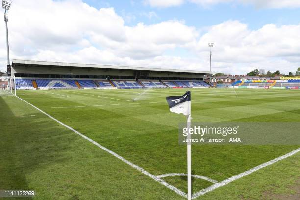 General view of Moss Rose home stadium of Macclesfield Town during the Sky Bet League Two match between Macclesfield Town and Cambridge United at...