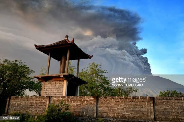 General view of Mount Agung during an eruption seen from Kubu subdistrict in Karangasem Regency on Indonesia's resort island of Bali on November 26...