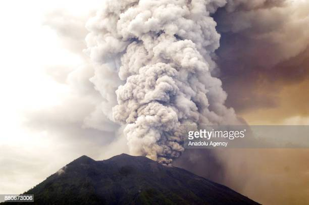 KARANGASEM BALI INDONESIA NOVEMBER 28 General view of Mount Agung during an eruption while spewing volcanic ash into the sky is seen from Kubu on...