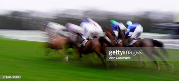 A general view of movement at Ascot Racecourse on February 15 2020 in Ascot England