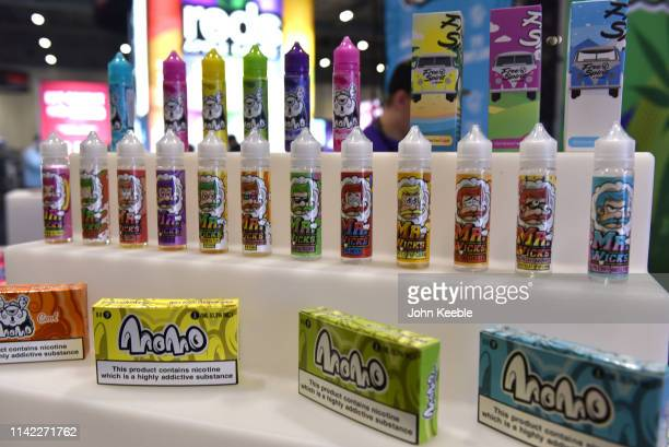 A general view of Mr Wicks Pop Corn flavoured ELiquid on display during Vape Jam 2019 at ExCel on April 12 2019 in London England Vape Jam UK the...