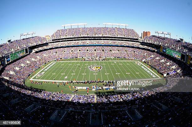 General view of MT Bank Stadium as the Baltimore Ravens and Atlanta Falcons play at MT Bank Stadium on October 19 2014 in Baltimore Maryland
