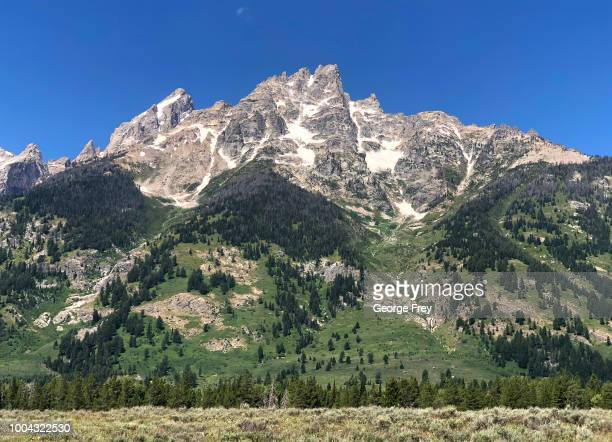 A general view of Mt St John's in Grand Teton National Park on July 12 2018 in Jackson Wyoming A fissure has opened up in a canyon near Mt St Johns...
