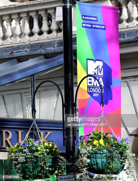 A general view of MTV branding along Charing Cross Road ahead of the MTV EMAs 2017 on November 9 2017 in London England The MTV EMAs 2017 is held at...