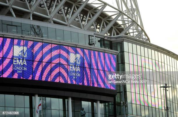 A general view of MTV branding on Wembley Stadium at Wembley Park ahead of the MTV EMAs 2017 on November 9 2017 in London England The MTV EMAs 2017...