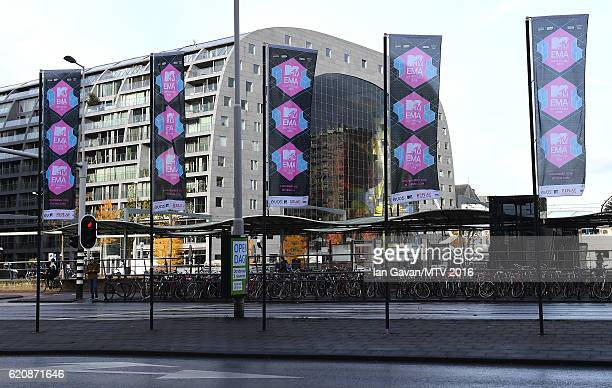 A general view of MTV branding with the Markthal in the background ahead of the MTV Europe Music Awards 2016 on November 3 2016 in Rotterdam...