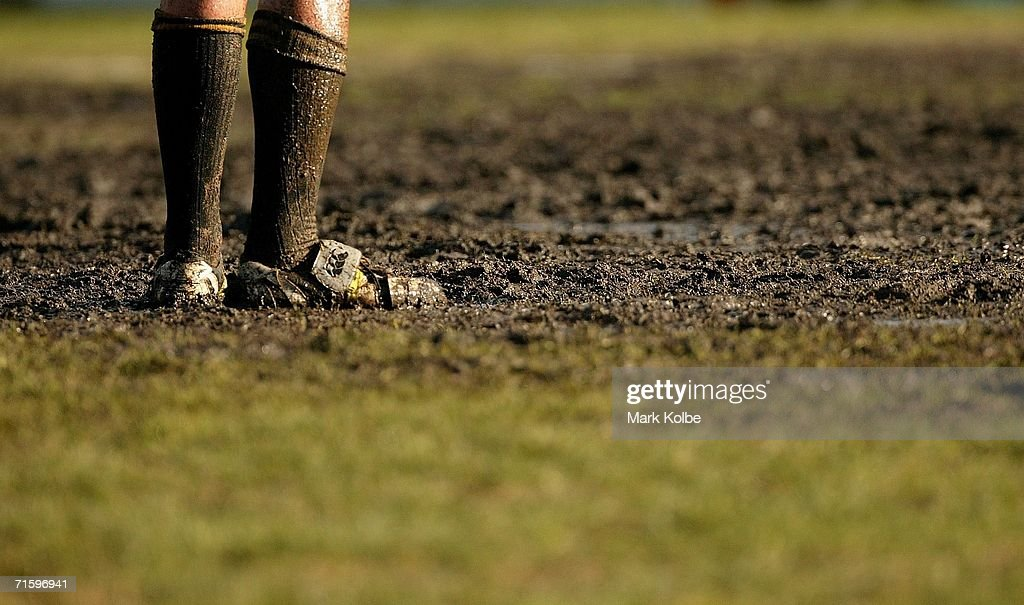 A general view of muddy football boots during the Tooheys New Cup Rd 10 match between Sydney University and Penrith at Sydney University Oval, August 5, 2006 in Sydney, Australia.