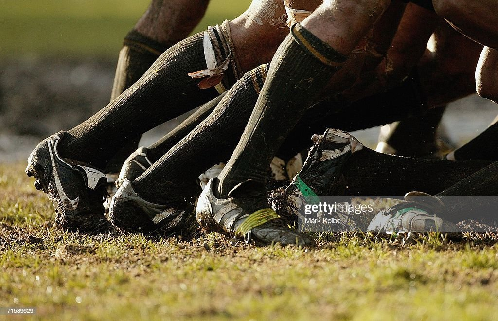 A general view of muddy football boots in a scrum during the Tooheys New Cup Round 10 match between Sydney University and Penrith at Sydney University Oval, August 5, 2006 in Sydney, Australia.