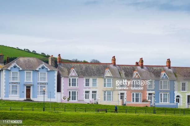 A general view of multi coloured houses at the seaside town of Aberaeron on April 30 2019 in Aberaeron United Kingdom