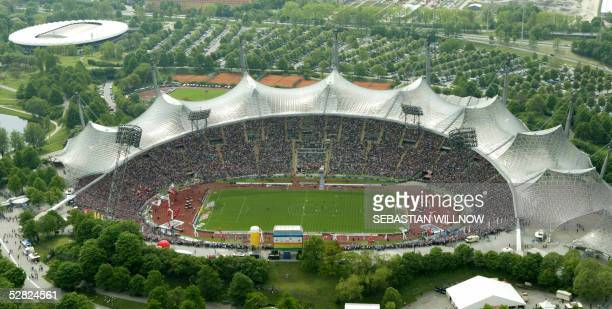 General view of Munich's Olympic stadium during the Bundesliga match opposing Bayern Munich to FC Nueremberg 14 May 2005 It was the final match to be...