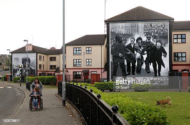 A general view of murals in the Bogside area of Londonderry close to where the Bloody Sunday killings took place in 1972 on June 14 2010 in...