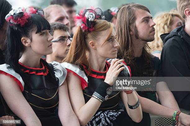 General view of music fans enjoying the atmosphere dressed as members of Babymetal during day 1 of Download Festival at Donnington Park on June 10...