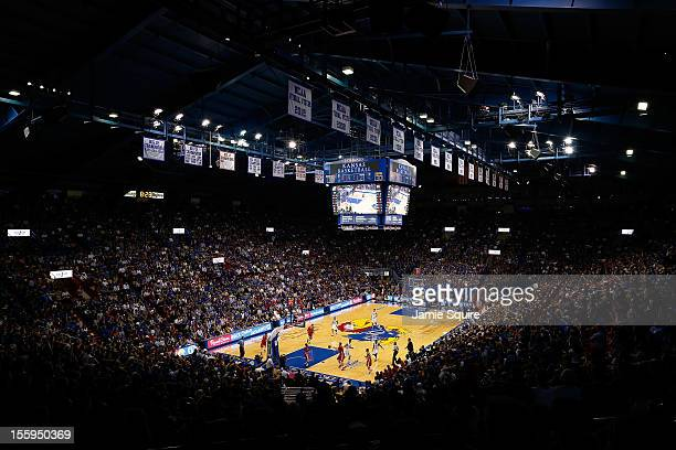 A general view of Naismith Court at Allen Fieldhouse during the game between the Southeast Missouri State Redhawks and the Kansas Jayhawks at Allen...