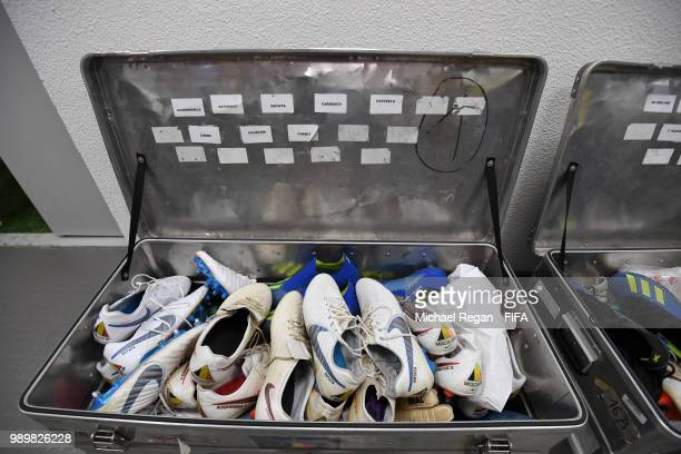 General view of names of Belgium players are seen on boots container in Belgium dressing room prior to the 2018 FIFA World Cup Russia Round of 16...