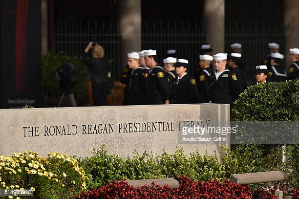 General view of Nancy Reagan's funeral services at the Ronald Reagan Presidential Library on March 11 2016 in Simi Valley California