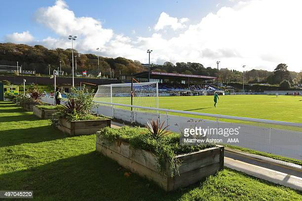 A general view of Nanttporth the home of Bangor City during the UEFA U21 Championship Qualifier between Wales and Armenia at Nantporth on November 13...