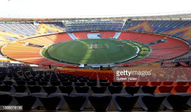 General view of Narendra Modi Stadium during a Nets Session on March 03, 2021 in Ahmedabad, India.