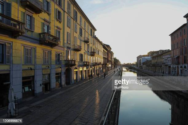 General view of Navigli district March 13 2020 Italy shut all stores except for pharmacies and food shops in a desperate bid to halt the spread of a...