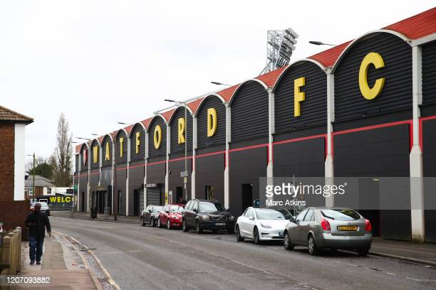 General view of near empty streets outside Vicarage Road, home of Watford FC as all Premier League matches are postponed until April 3rd due to the...