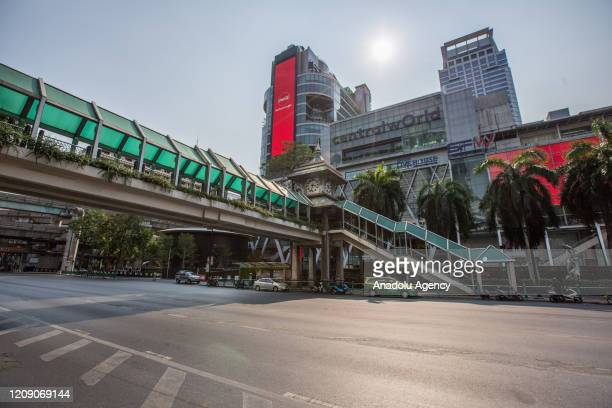 General view of nearly empty Central World Shopping Mall and Ratchadamri Road is seen amid Coronavirus outbreak on April 03, 2020 in Bangkok,...
