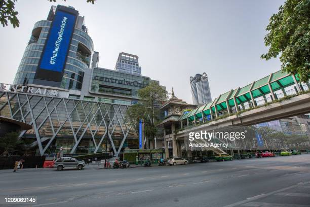 General view of nearly empty Central World Shopping Mall and Ratchadamri Road amid Coronavirus outbreak on April 03, 2020 in Bangkok, Thailand....