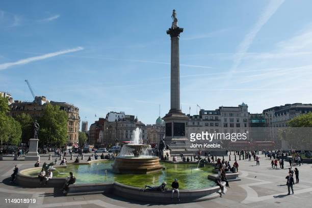 A general view of Nelson's Column in Trafalgar Square on May 13 2019 in London England
