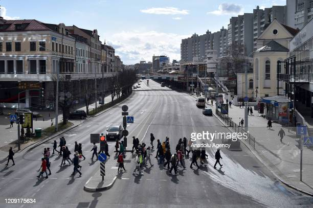 A general view of Nemiga Street is seen amid coronavirus pandemic precautions in Minsk Belarus on April 05 2020 Death toll rises to 8 in Belarus due...