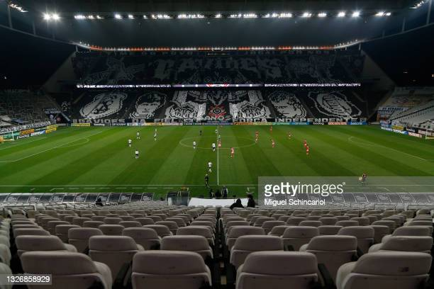 General view of Neo Quimica Arena during a match between Corinthians and Internacional as part of Brasileirao 2021 on July 03, 2021 in Sao Paulo,...