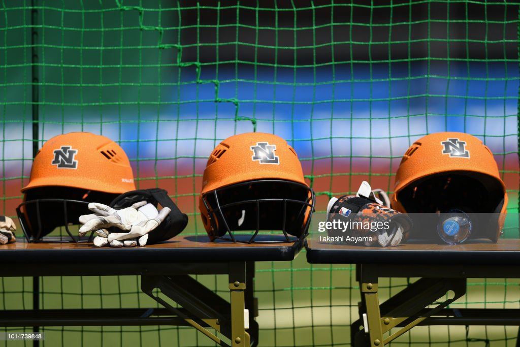 A general view of Netherlands dugout during the Playoff Round match between Canada and Netherlands at ZOZO Marine Stadium on day nine of the WBSC Women's Softball World Championship on August 10, 2018 in Chiba, Japan.
