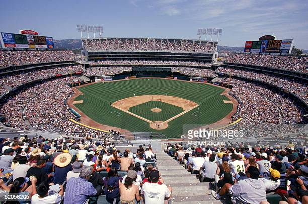 A general view of Network Associates Coliseum taken during a 2003 Oakland Athletics season game in Oakland California