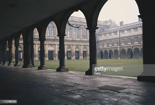 A general view of Nevile's court cloisters Trinity college library part of Cambridge University Cambridgeshire circa 1975