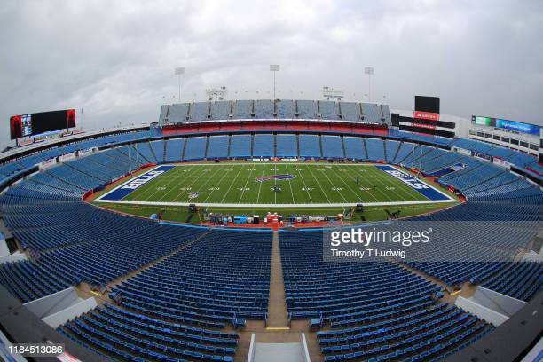 A general view of New Era Field before a game between the Buffalo Bills and the Philadelphia Eagles on October 27 2019 in Orchard Park New York...