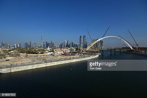 A general view of new extension of Dubai Canal on October 29 2016 in Dubai United Arab Emirates The Dubai Water Canal connects Business Bay to the...