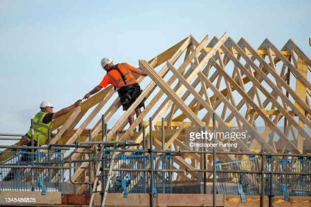 General view of new homes being contstructed in Cheshire on October 08, 2021 in Warrington, England. The Conservative government had committed itself...