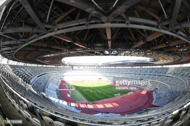 General view of New National Stadium during the training session of the 99th Emperor's Cup final at the National Stadium on December 31, 2019 in...